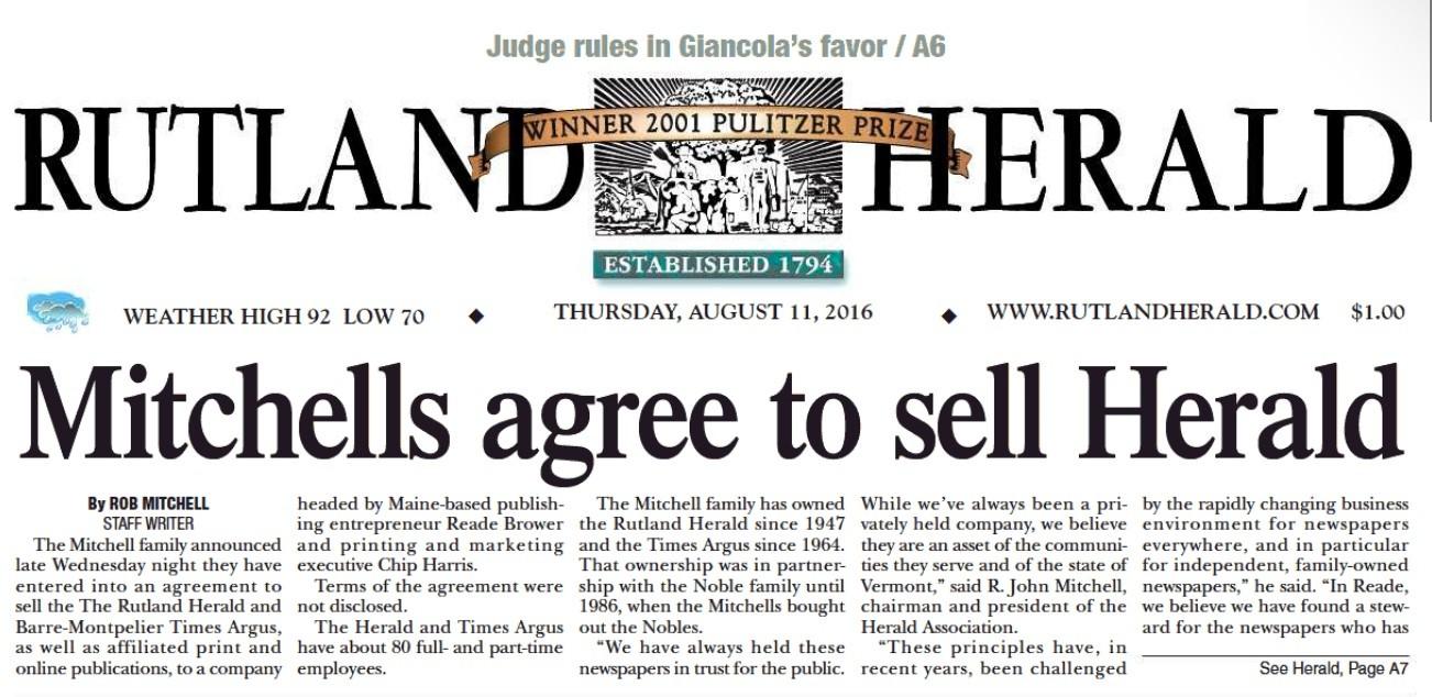Rutland Herald. The Rutland, Vermont Herald is in the Burlington ...