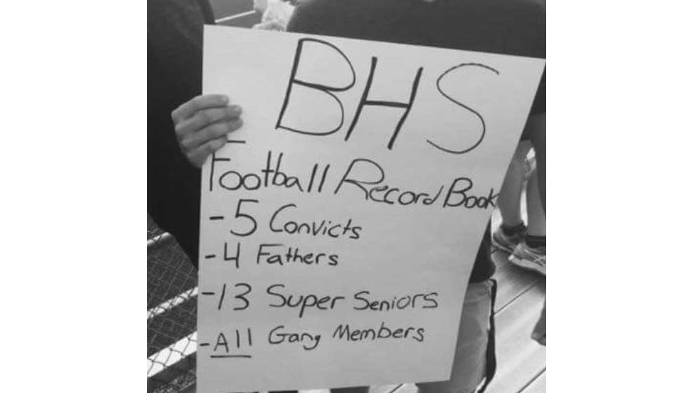 A picture of the Rice Memorial High School student's sign at the Burlington homecoming game last Friday - COURTESY OF BURLINGTON POLICE DEPARTMENT