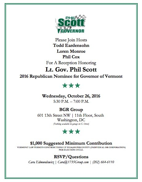 An invitation to an October 26 fundraiser for Republican gubernatorial nominee Phil Scott - COURTESY: PHIL SCOTT FOR GOVERNOR