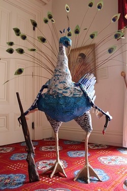 "Detail of ""P-cock went hunting (peacock and buck)"" by Katie Hunt - PAUL HEINTZ"