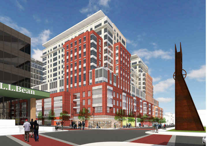 Rendering of Burlington Town Center as seen from Cherry and St. Paul streets - COURTESY OF PKSB ARCHITECTS