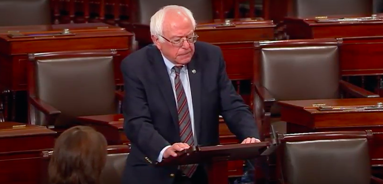 Sen. Bernie Sanders (I-Vt.) condemns the shooting in remarks Wednesday on the U.S. Senate floor. - SCREENGRAB