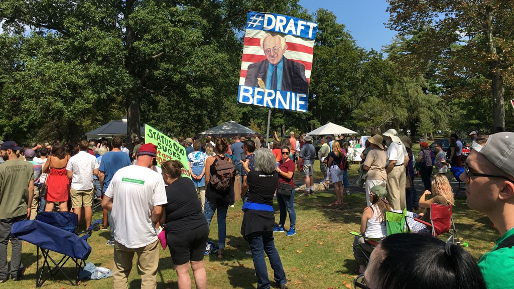 "A ""Draft Bernie"" sign. - JOHN WALTERS"