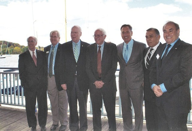 Left to right: Congressman Peter Welch, Bill Stenger, Sen. Patrick Leahy, Sen. Bernie Sanders, Gov. Peter Shumlin, Ariel Quiros and William Kelly at the unveiling of the Northeast Kingdom Economic Development Initiative in Newport in September 2012. - COURTESY OF BILL STENGER
