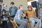 Director Todd Solondz (far right) talks with Greta Gerwig on the set of <i>Wiener-Dog</i>.
