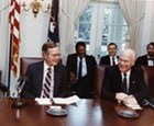 With President George HW Bush in the Cabinet Room, 1982