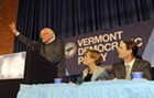 Sen. Bernie Sanders (I-Vt.), left, rallies a crowd Friday night in Montpelier for Democratic gubernatorial candidate Sue Minter and David Zuckerman, Progressive/Democratic candidate for lieutenant governor.