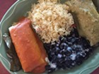 Salvadoran tamales (beef, left; chicken, right), rice and beans