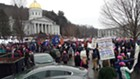 The crowd outside the Statehouse