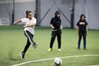Anjana Raika practicing free kicks