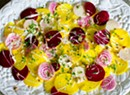 Raw Beet Carpaccio With Mascarpone, Hazelnuts and Summer Herbs