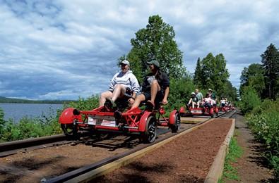 Pedaling the Rail Trail in Saranac Lake