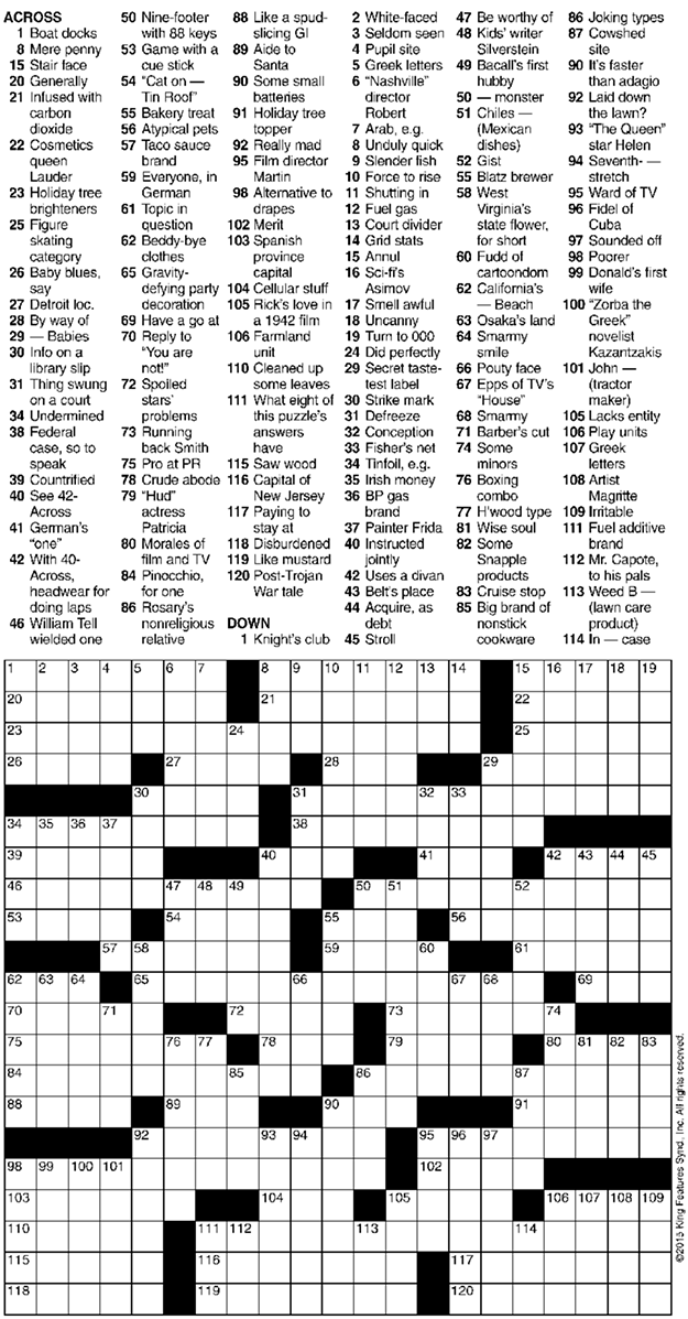 Crossword 6 24 15 Crossword Seven Days Vermont 39 S Independent Voice