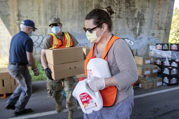 Lining Up for Food Assistance on the Beltline in Burlington