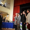 Mayor MIro Weinberger swearing in newly elected city councilors