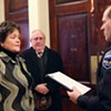 Jennifer Morrison being sworn in as interim Burlington police chief