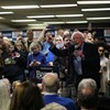 Sen. Bernie Sanders (I-Vt.) addressing supporters at his field office in Newton, Iowa, on Sunday