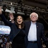Sen. Bernie Sanders (I-Vt.) and Rep. Alexandria Ocasio-Cortez (D-N.Y.) taking the stage at the Whittemore Center Arena at the University of New Hampshire