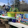 The toy selection outside Champlain Elementary School on Tuesday