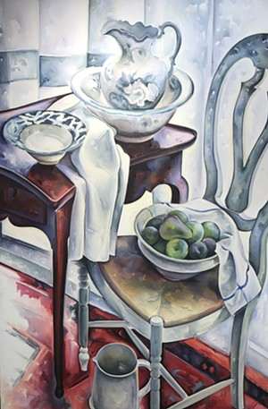"COURTESY OF CENTRAL VERMONT MEDICAL CENTER - ""Large Still Life With Swedish Chair"" by Margaret Sparrow"