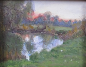 """COURTESY OF BRYAN MEMORIAL GALLERY - """"Sunset on the River"""" by Hilary Baldwin"""
