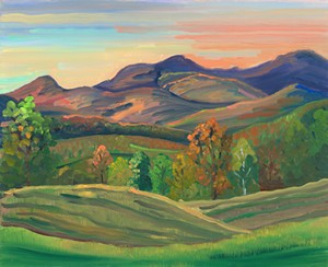 "COURTESY OF PHYLLIS CHASE - ""Green Mountain Sunset, Autumn"" by Phyllis Chase"