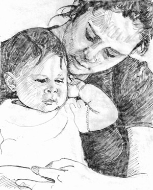 """COURTESY OF TWO RIVERS PRINTMAKING STUDIO - """"Mother and Child"""" by Sue Schiller"""