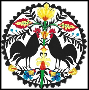 "COURTESY OF NEK ARTISANS GUILD - ""Black Roosters,"" papercut by Carolyn Guest"