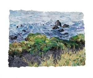 "COURTESY OF FURCHGOTT SOURDIFFE GALLERY - ""Moss Rocks,"" fabric collage by Dianne Shullenberger"