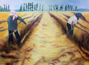 "COURTESY OF JULIAN SCOTT MEMORIAL GALLERY - ""Wheat Rowers"" by Kathie Lovett"