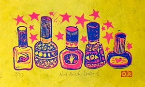 """COURTESY OF THE S.P.A.C.E. GALLERY - """"Nail Polish (Yellow),"""" linoleum print by Kylie Dally"""