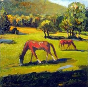 """COURTESY OF THREE MOUNTAIN CAFÉ - """"Two Horses"""" by Cindy Barr"""