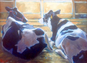 """COURTESY OF TUNBRIDGE PUBLIC LIBRARY - """"Two Cows Reclining"""" by Rae Newell"""