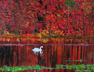 """COURTESY OF SCAVENGER GALLERY - """"On Crimson Pond"""" by Sue Lawrence"""