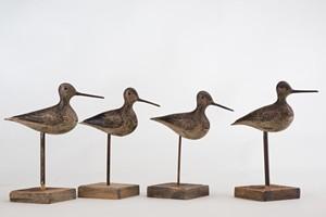 "COURTESY OF SHELBURNE MUSEUM - ""Stick-up Shorebird Dowitcher Decoys,"" maker unknown"