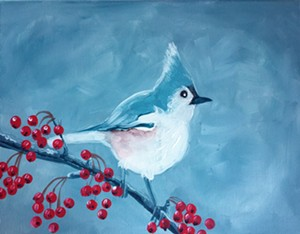 """COURTESY OF PAINTING SOCIAL - """"Winter Bird"""" by Claire Payne"""