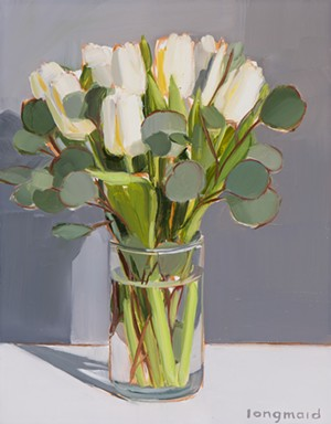 "COURTESY OF FURCHGOTT SOURDIFFE GALLERY - ""Ivory Tulips"" by Kate Longmaid"