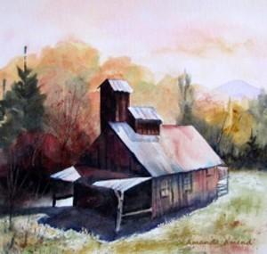"COURTESY OF FESTIVAL GALLERY - ""Waitsfield Sugar Shack,"" watercolor by Amanda Amend"