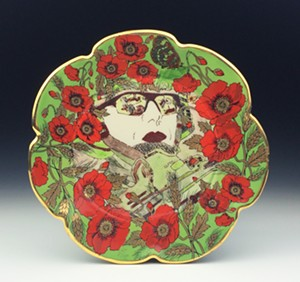 "COURTESY OF BURLINGTON CITY ARTS - ""Things Best Forgotten,"" ceramic plate by Jessica Putnam-Philips"