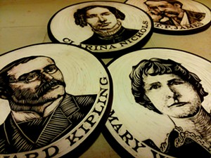 COURTESY OF LAUREN PAULET - Portrait medallions' carved by Cynthia Parker-Houghton for the Brattleboro Words Trail maps and murals