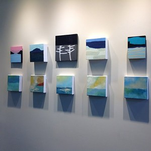 """COURTESY OF AXEL'S FRAME SHOP & GALLERY - Installation view of """"Smalls"""" paintings"""