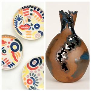 Left: plates by Elisheva Goldberg; right: coral vase by Alexandra Kim - Uploaded by Elisheva Goldberg