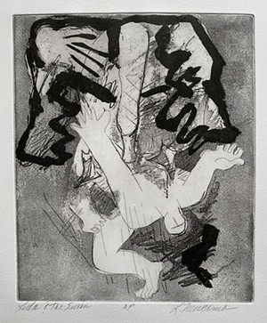"COURTESY OF TWO RIVERS PRINTMAKING STUDIO - ""Leda and the Swan Series A/P"" by Lynn Newcomb"