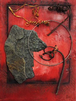 "COURTESY OF CASTLETON DOWNTOWN GALLERY - ""Assessing Points of View,"" mixed media work by Nancy P. Weis"