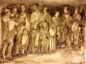 "COURTESY OF THE 99 GALLERY AND CENTER - ""Seeking Refuge,"" walnut ink watercolor by Sam Howe"