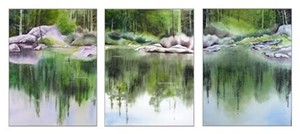 "COURTESY OF FESTIVAL GALLERY - ""Rock Triptych,"" watercolor by Amanda Amend"