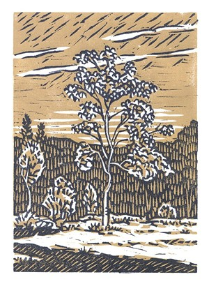 "COURTESY OF T.W. WOOD GALLERY - ""August,"" block print by Phillip Robertson"