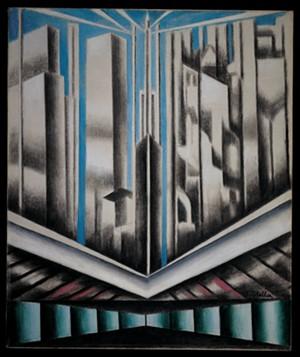 "COURTESY OF T.W. WOOD GALLERY - ""Skyscrapers"" by Joseph Stella"