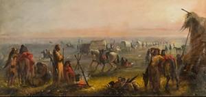 """COURTESY OF SHELBURNE MUSEUM - """"Departure of the Caravan at Sunrise"""" by Alfred Jacob Miller"""
