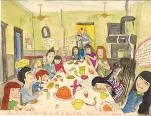 "COURTESY OF HENRY SHELDON MUSEUM - ""The Raimbilli Children Showing Off at Their Kitchen Table on the Farm"" by Gayleen Aiken"